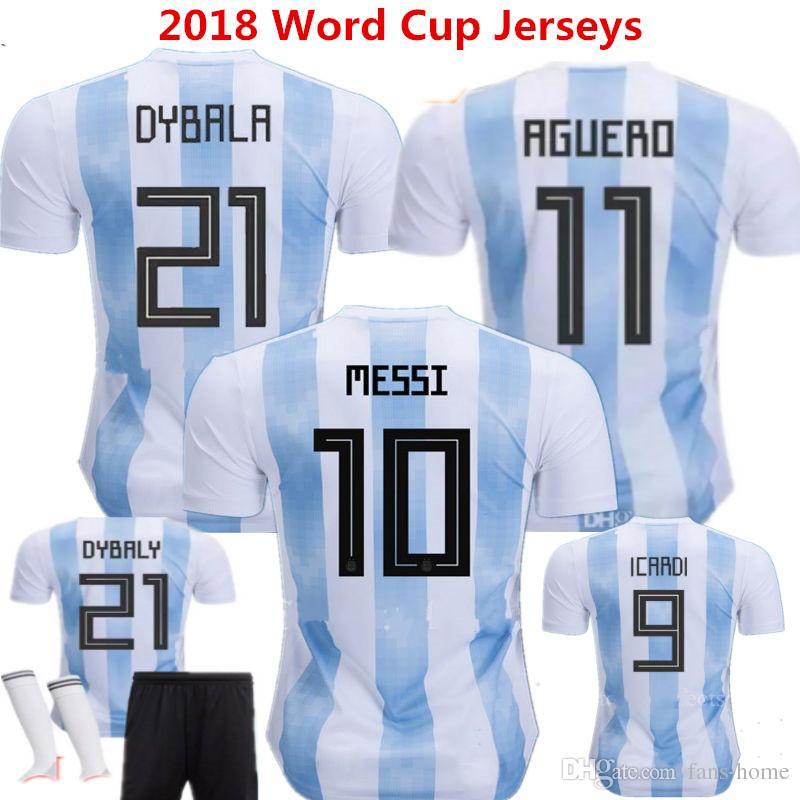 2019 2018 Soccer Jersey Argentina Camisetas De Futbol LEO Messi Maillot  Maradona Di Maria Kun Aguero Higuain Dybala ICARDI Home Football Shirts  From Fans ... 724c13321