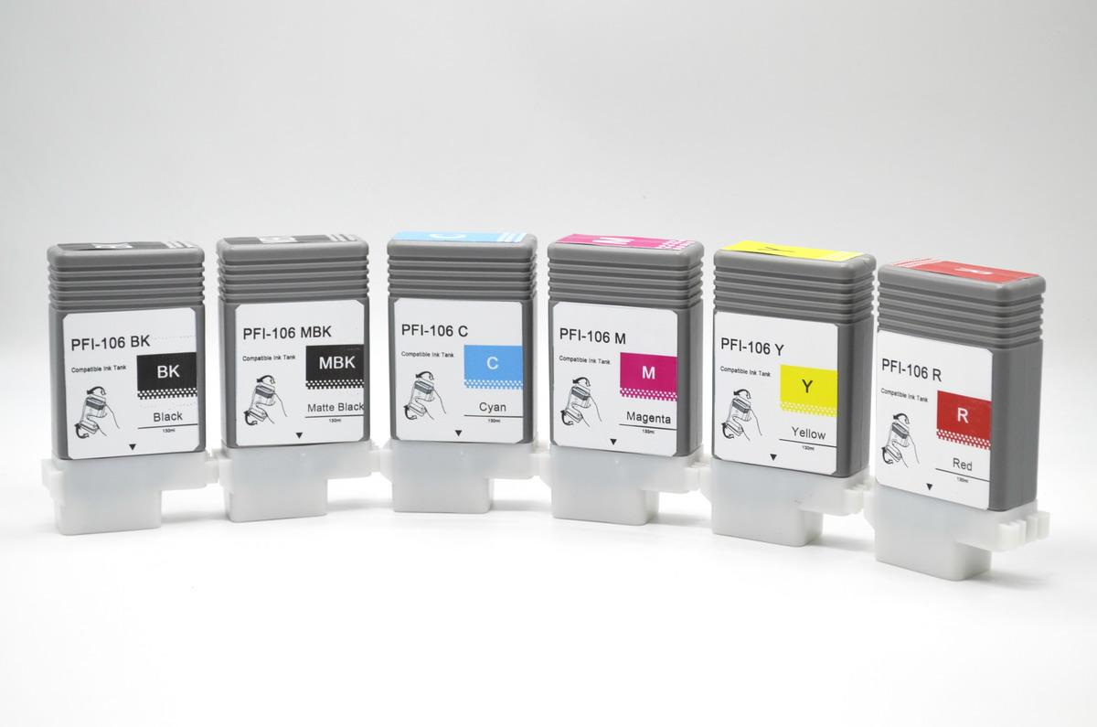 Compatilbe plug and play IPF6450 ink cartridges,PFI-106 12-color ink tanks for canon ipf6400 ipf6450 etc plotter