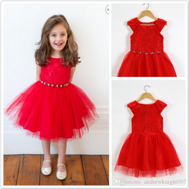 2018 Baby Infant Red Bubble Dress Newborn Baby Party Wedding ...