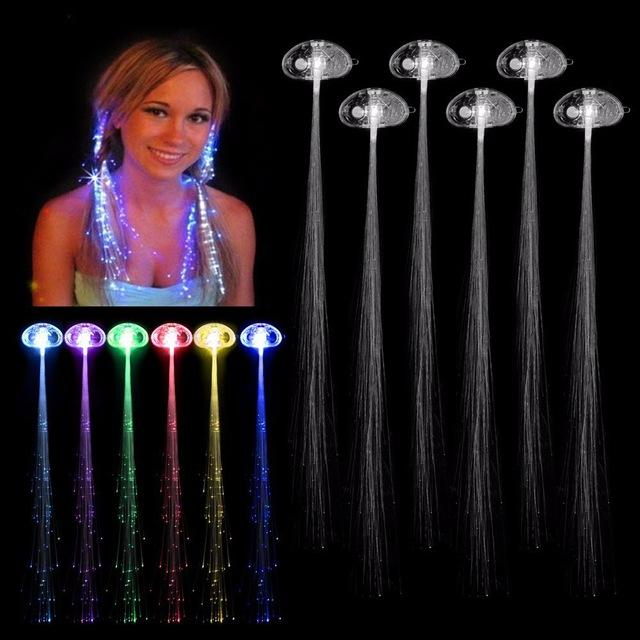 Colorful LED Wigs Glowing Flash Night Lights Braid LED Hair Braid Clip Hairpin Decoration Ligth Up Show Easter Party supplies Christmas