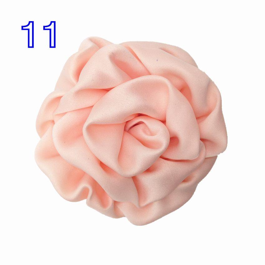 Boa Qualidade 8 cm Handmade Rodada De Cetim Flor 25 Cores Grande Rosette Tecido Buds Flat Back for DIY Headband Cabeça desgaste Acessório de Cabelo
