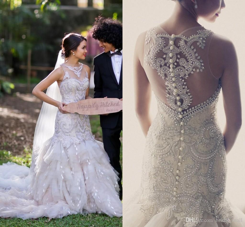 Luxury 2015 Wedding Dresses Sheer Neck Mermaid With Full Beads Pearl ...