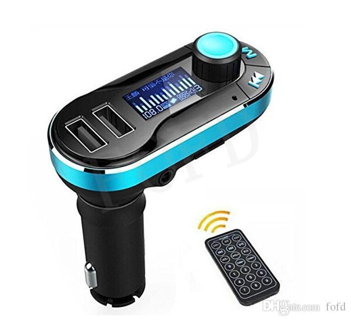 Yeni Sıcak Satış Bluetooth Araç Kiti Handsfree MP3 Çalar FM Verici Çift 2 USB Şarj Desteği SD Line-in AUX T66