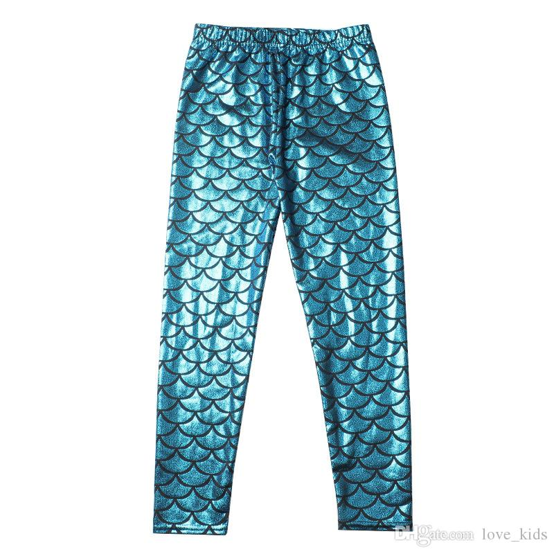 Baby Girls Kids Mermaid Cute Pants baby Colorful Digital Printing Child Leggings Pants mermaid fish scale shiny pants