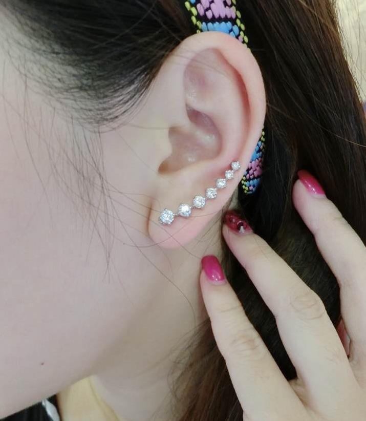 Pendientes de clip Moda 1 Par Chic Lady 18K GP Pendientes de cristal plateado oro plateado Gancho de oreja Gif Perforación de oreja perforada Clip en Pendientes