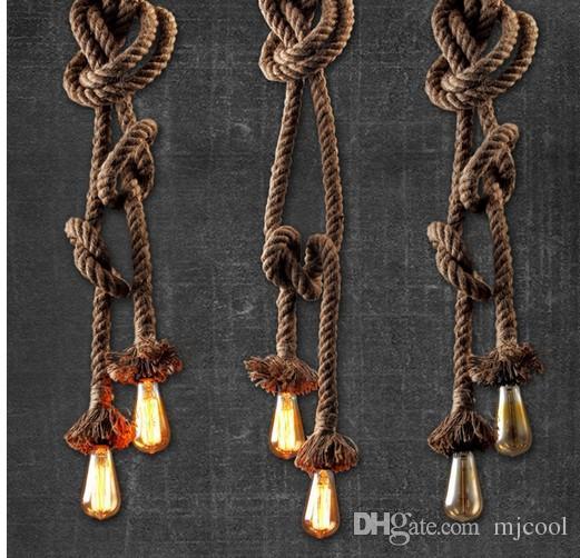 Kenevir halat avize Giyim mağazası dekore droplight 3 m E27 klasik yaratıcı kişilik ile droplight DIY manuel zanaat droplight