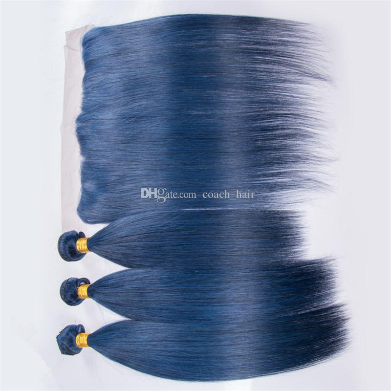 8A Cheap Indian Blue Virgin Hair Bundles with Lace Frontal Closure Light Blue Silky Straight Human Hair Wefts with Ear to Ear Frontal