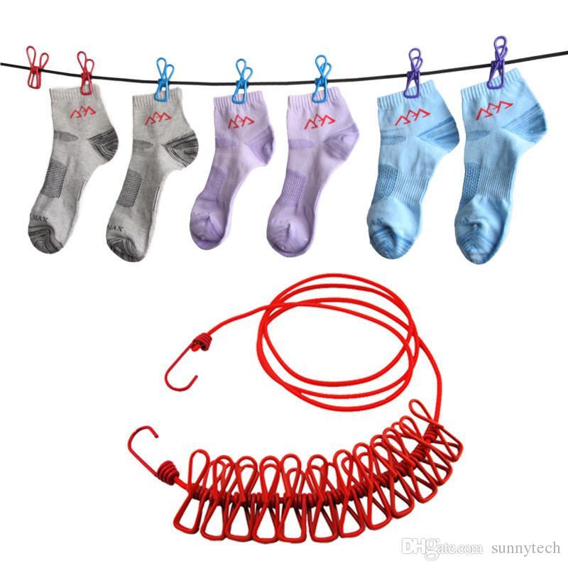 Voyage en plein air Portable corde à linge Garment Clip chaussettes sous-vêtements cintre Corde élastique coupe-vent élastique avec 12 clips LZ0681