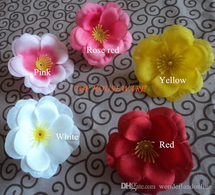 Artificial Peach Blossom Flower Decorative Dried Silk Flower Head Floor Single Rose For Home Decoration Wedding Supplies