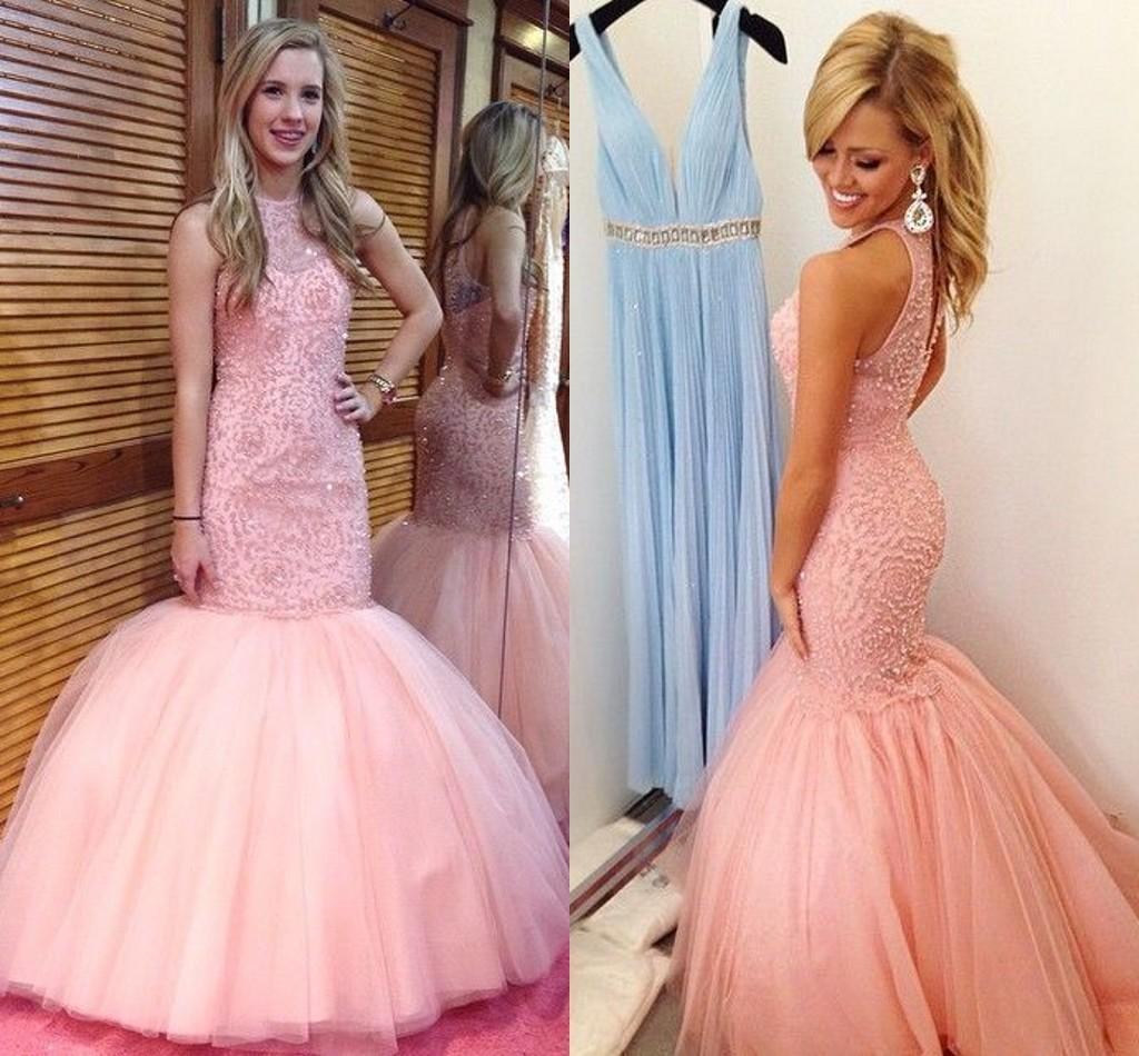 Compre Las Nuevas Perlas 2015 Rebordearon Los Vestidos Rosados del ...