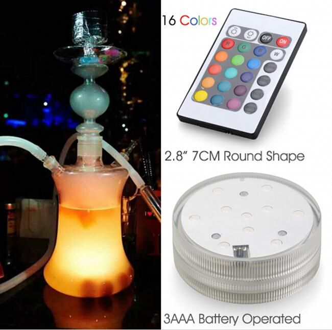RGB Multi colores Control remoto Sumergible LED Gadget de luz, jarrones de LED base de luz para celebración de la fiesta de bodas Suministros