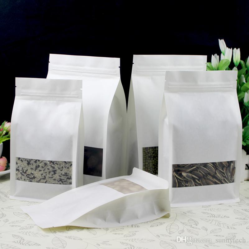 White Stand up Paper Window Packaging Bag Snack Cookie Tea Packaging Frosted Window Ziplock Bag Gift Bags Pouches LZ0547