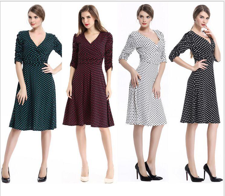 2018 The Summer Fashion Women Working Dress Half Sleeve Deep V Neck ...