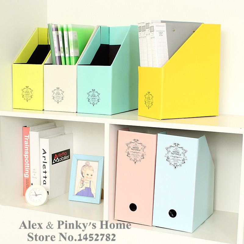 Paper Office Desktop Storage Box File Box Korea Creative Lovely Book  Document Storage Box Magazine Holder