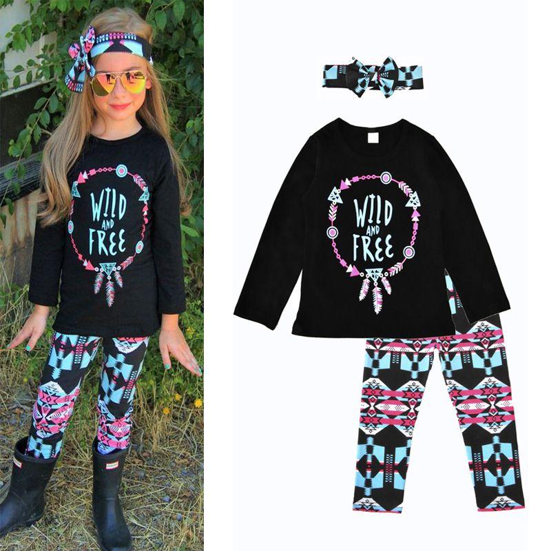 ad9e92aa Sweet Baby Girls Clothes Toddler Kids Long Sleeve T-Shirt Tops + Leggings  Pants + Headband 3pcs Girls Outfits Kids Clothing Set 2018 Spring