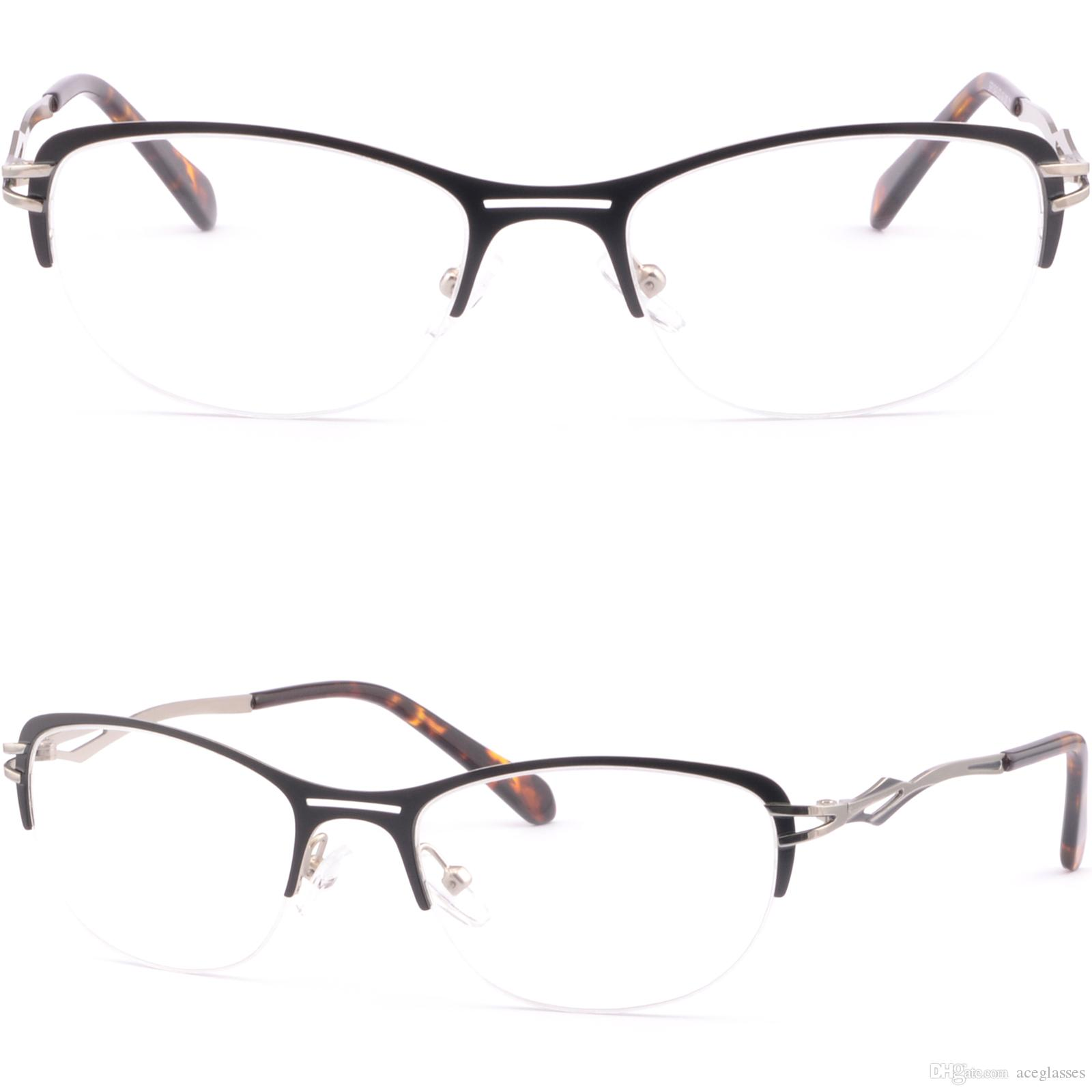 10ba6107a4e Half Rimless Women s Metal Frames Cateye Cat Eye Prescription Lens ...