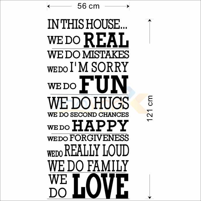 في هذا البيت diy اقتباس الحائط الشارات ZooYoo8170 للإزالة الفينيل ملصقات الحائط تزيين المنزل حروف للإزالة ملصق