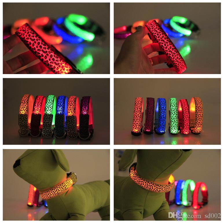 الكلب الياقات مستلزمات الحيوانات الأليفة ليوبارد طباعة مضيئة Necklet LED تضيء الكلاب المقود قابل للتعديل الحجم 2 85lh C R