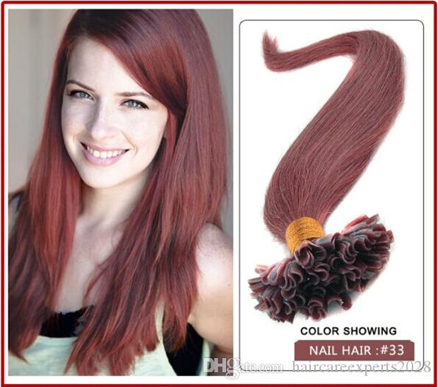 "wholesale -5A 1g/s 100g/pack 14''- 24"" Keratin Stick u Tip Human Hair Extensions Peruvian hair 33# dark auburn dhl Fast shipping"