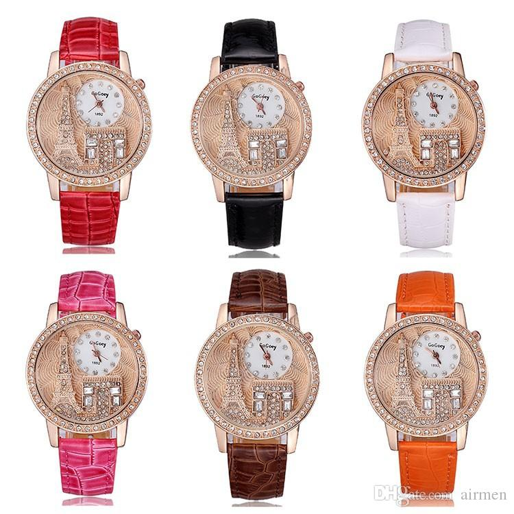 2015 Fashion Women Rhinestone Watches Gogoey Brand Luxury Crystal The Eiffel Tower Watch Casual Ladies Dress Quartz Wristwatches