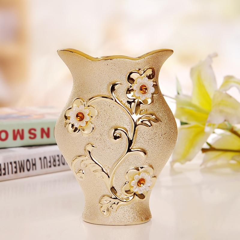 Luxury Morden Gold Plated Ceramic Vase Home Decor Creative Design