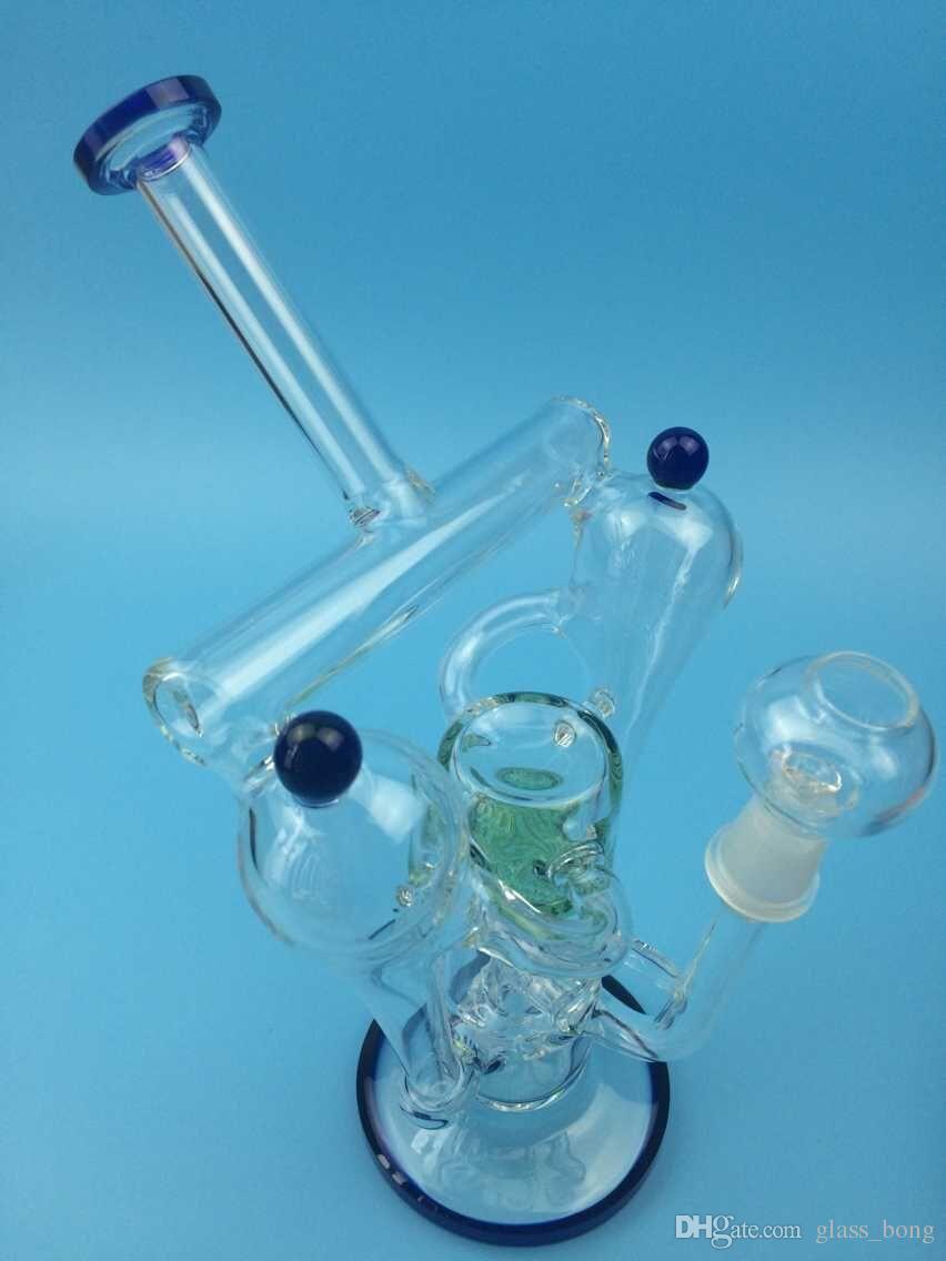 vente chaude livraison gratuite haute qualité réel picutres double recycleur bol en verre nouvelles plates-formes pétrolières bong en verre
