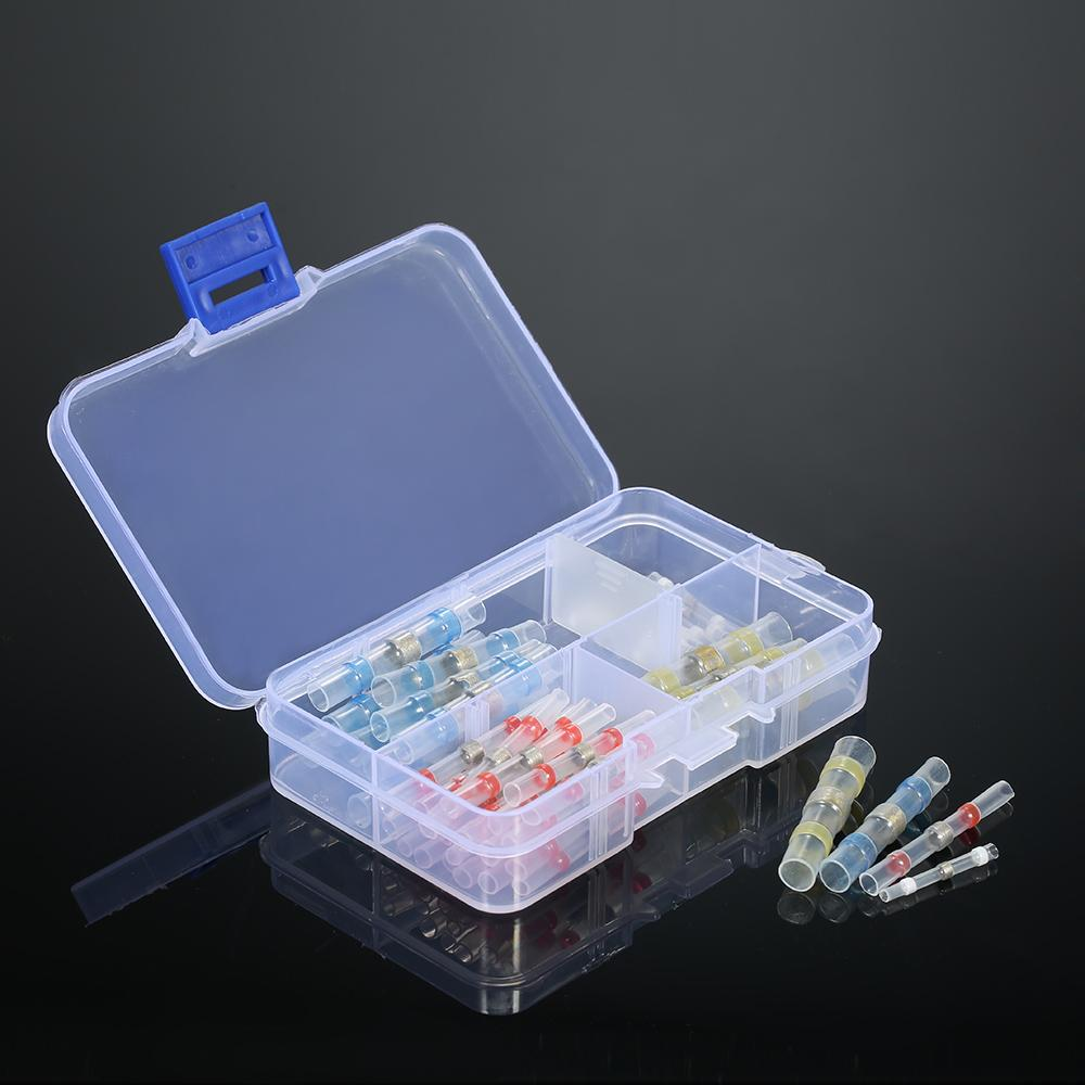 50PCS Solder Seal Wire Terminals Connectors Heat Shrink Butt Connector Terminals Electrical Waterproof Insulated with box