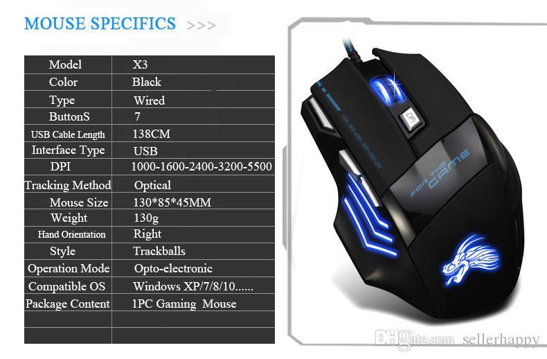 Ratón profesional para juegos 5500 DPI 7 botones LED Óptico USB Ratones con cable para Pro Gamer Computer X3 Mouse DHL Free