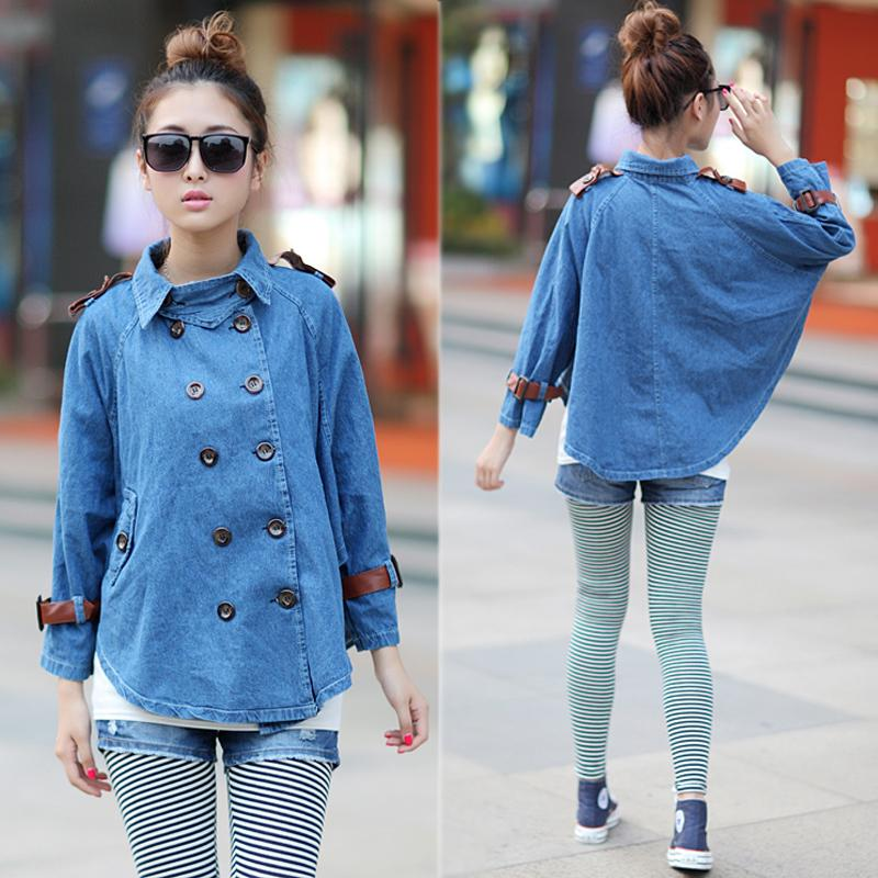 2018 2015 arrival casual harajuku fashion poncho double breasted korean style women denim hoodie