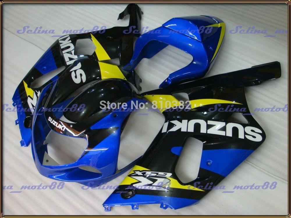 Juego de carenado ABS para SUZUKI GSXR 600 750 01 02 03 600 GSXR GSX-R750 K1 2003 2001 2002 Cuerpo de revestimiento azul GSXR750 negro PM15