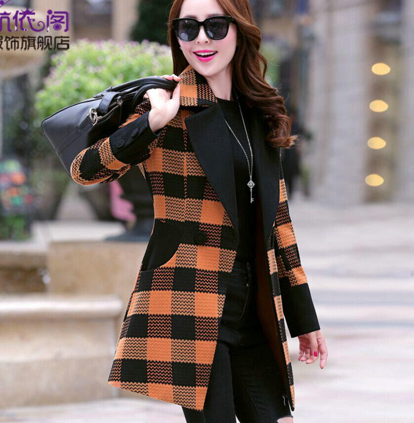 Online Cheap Korean Wool Coat Girls Slim Plaid Long Woolen Coat ...
