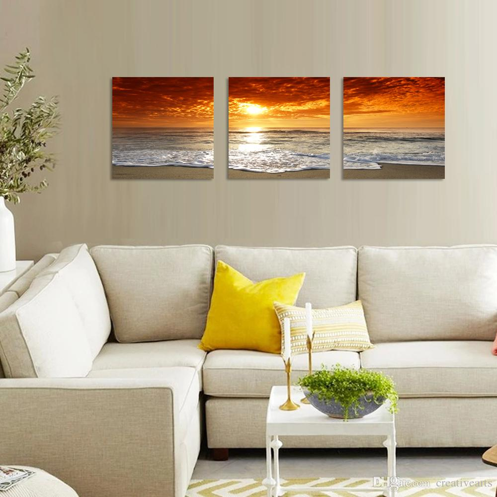 Sunset Canvas Print For Home Decoration,Canvas Artwork Seascape Beach Modern Painting Wall Art Picture Print on Canvas