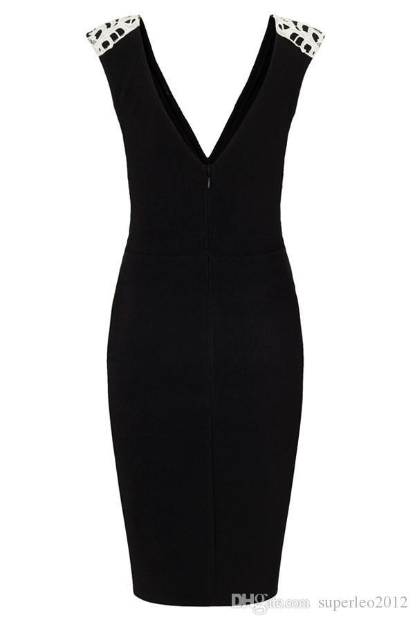 여성 섹시 V 목 Applique 블랙 레이스 드레스 민소매 짧은 드레스 딥 V 넥 사무 워크 복서 여성 Bodycon 붕대 클럽 드레스 LQ0201