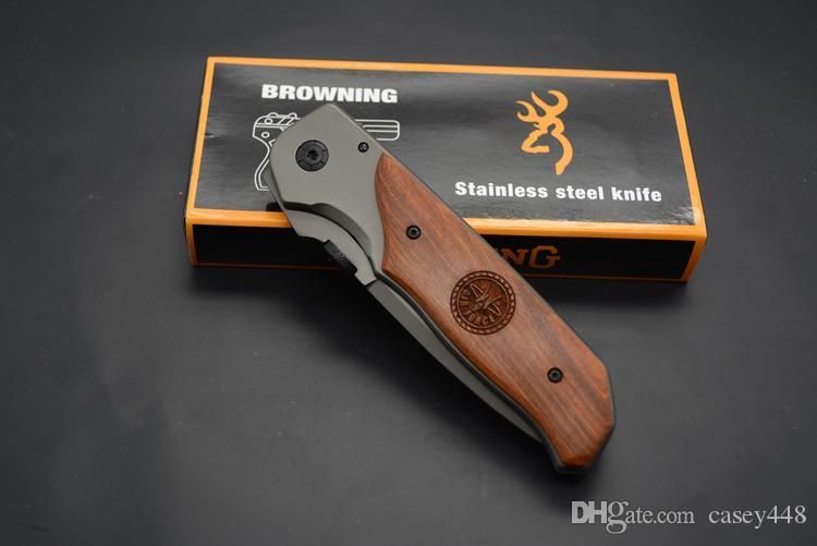 Alta calidad! Cuchillo plegable Browning DA30 titanio de superficie de madera del embutido de la manija de la caza que acampa 330 Fighting Knife