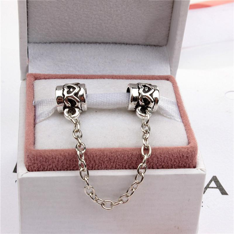 Heart Safety Chain Fashion Women Jewelry 925 Silver Plated Lovely For Pandora Bracelet Charm Bead European Style 006