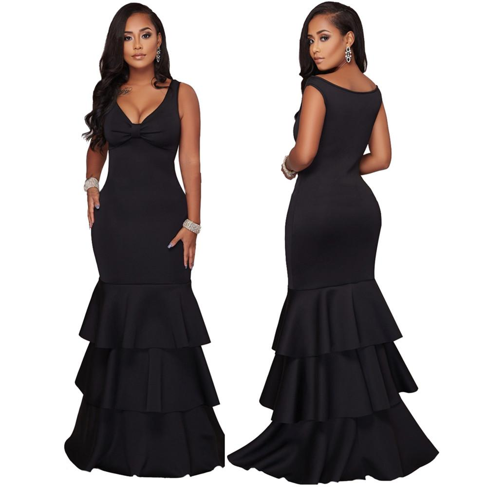 Women's Sexy Slim Long Maxi Dresses For Female Summer Black Fashion Ruffles Sleeveless Full Length Party Evening Dress