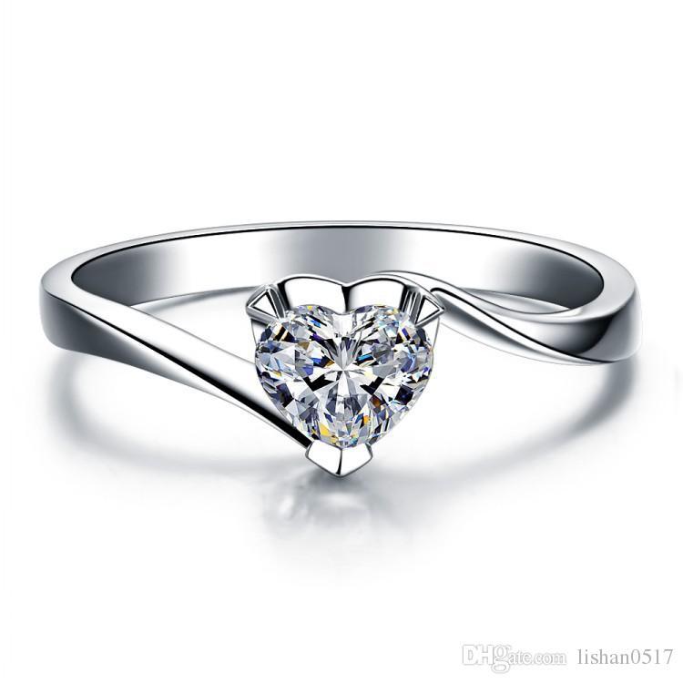 1ct ، سونا الماس ، وخاتم الماس مويسانيتي ، إصبع الفضة الاسترليني pt950 مطلي