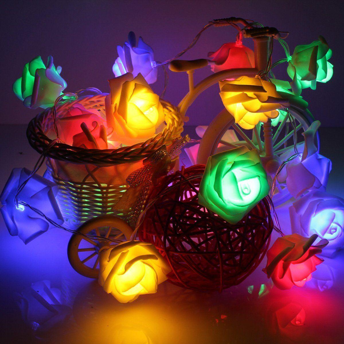 20 LED AA Battery Operated Rose Flower String Light Wedding Garden Christmas Home Party Decor Pink/White/Blue/Green/Purple/White Led Strings