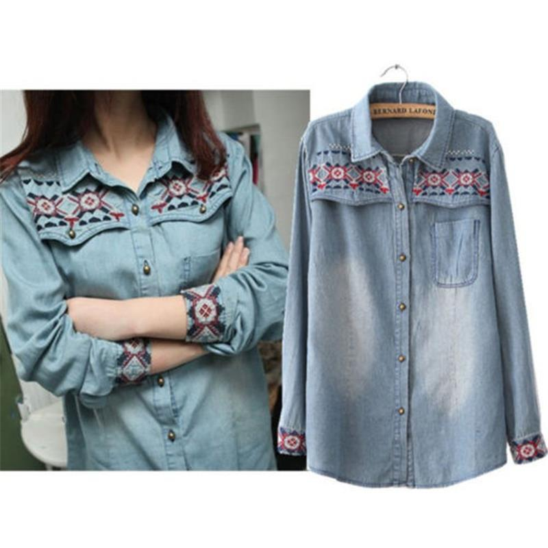 1dc81d0ced 2019 Women Lady Girl Retro Vintage Long Sleeve Blue Jean Denim Shirt Tops  Blouse From Henyun technology