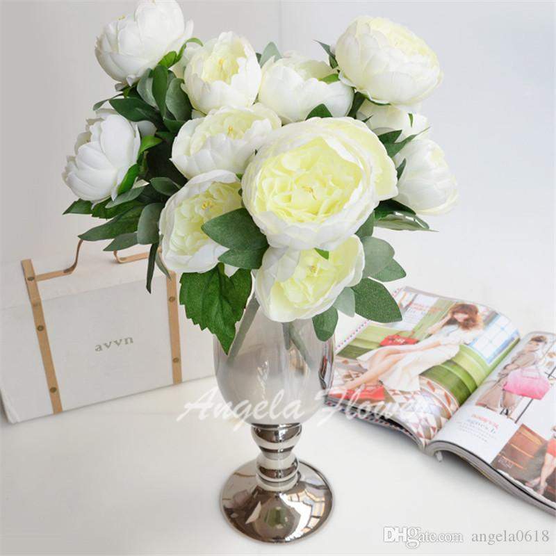 wholesale Artificial real look high quality silk peony Flowers mix decorative Birthday Party Wedding Home vase