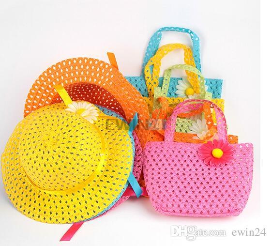 3 TAKıM Tatlı Bebek Kız Çocuklar Saman Çiçek Güneş Şapka Kap Çocuk Yaz Partisi Plaj Çantası Hediye Sıcak Satış