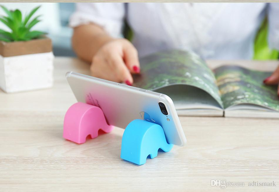 Mini Phone Holder For iPhone X 8 6 7 Samsung S8 Cute Elephant Shape Universal ABS Desk Phone Holder Stand Support Bracket