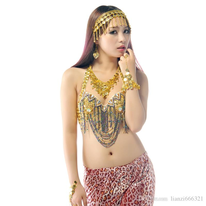 BELLY DANCE HEADPIECE NECKLACE BRACELETS EARRINGS COSTUME JEWELRY BOLLYWOOD DANCING PROPS Belly Dance Jewelry Sets