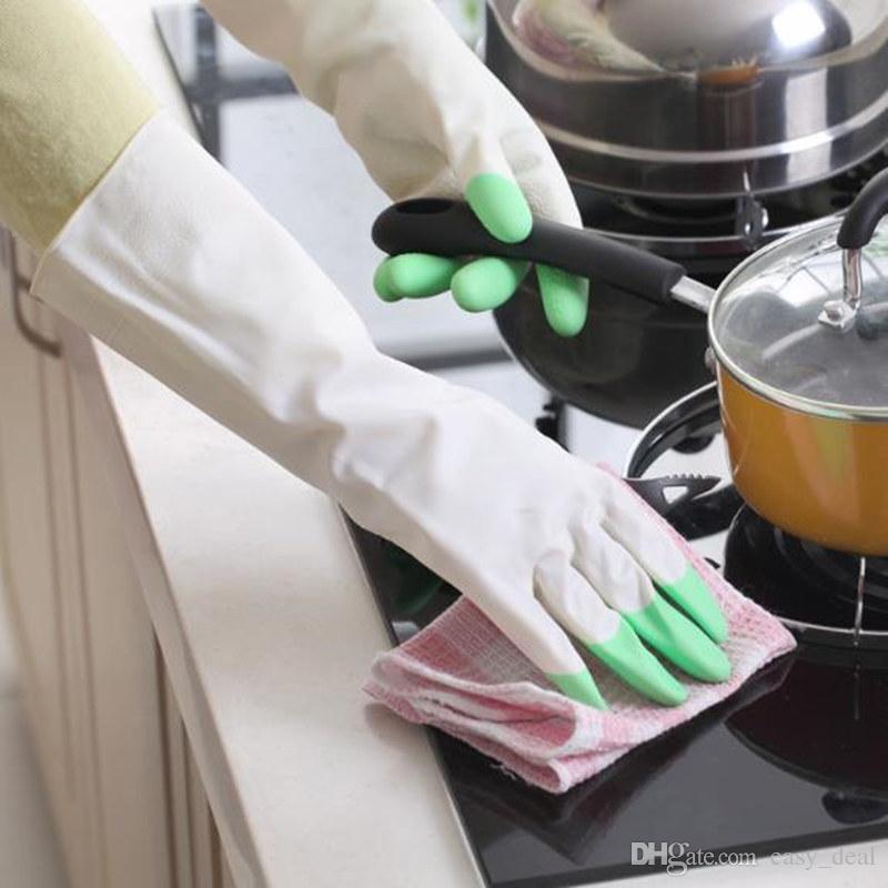 Amaizng طويلة الأكمام اللاتكس غسل الأطباق المطبخ غسل الاطباق قفازات قفازات منزلية أدوات التنظيف F20172485