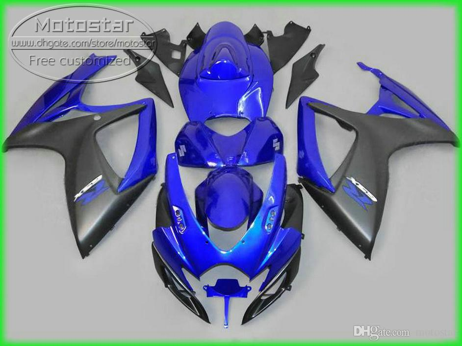 Bodykits di alta qualità SUZUKI GSX-R600 GSX-R750 2006 2007 K6 K6 K6 Black Black Blue Kit carenatura in plastica GSXR600 / 750 06 07 Fieristiche Set KD1