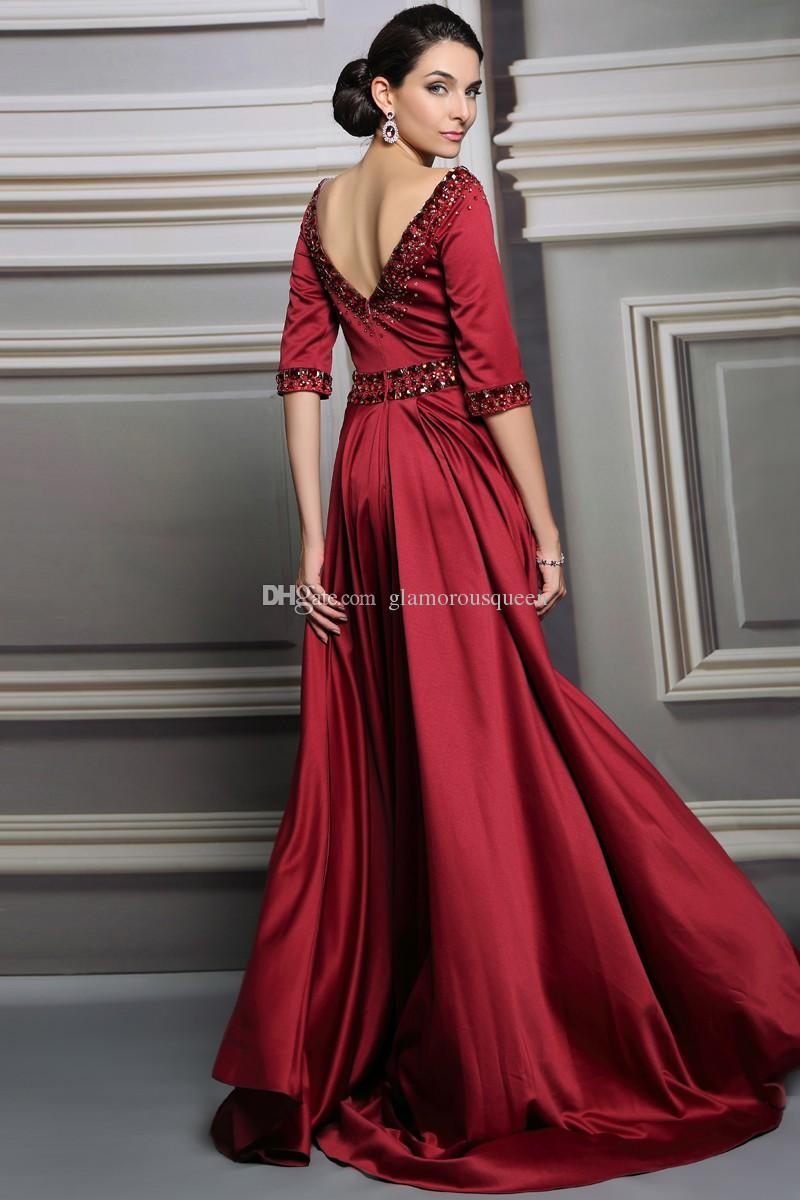 Wysokiej jakości linia miarka długość podłogi elastyczne stroje wieczorowe z połowy rękaw z kryształami Vestidos de Festa Vestido Longo Women Suknie
