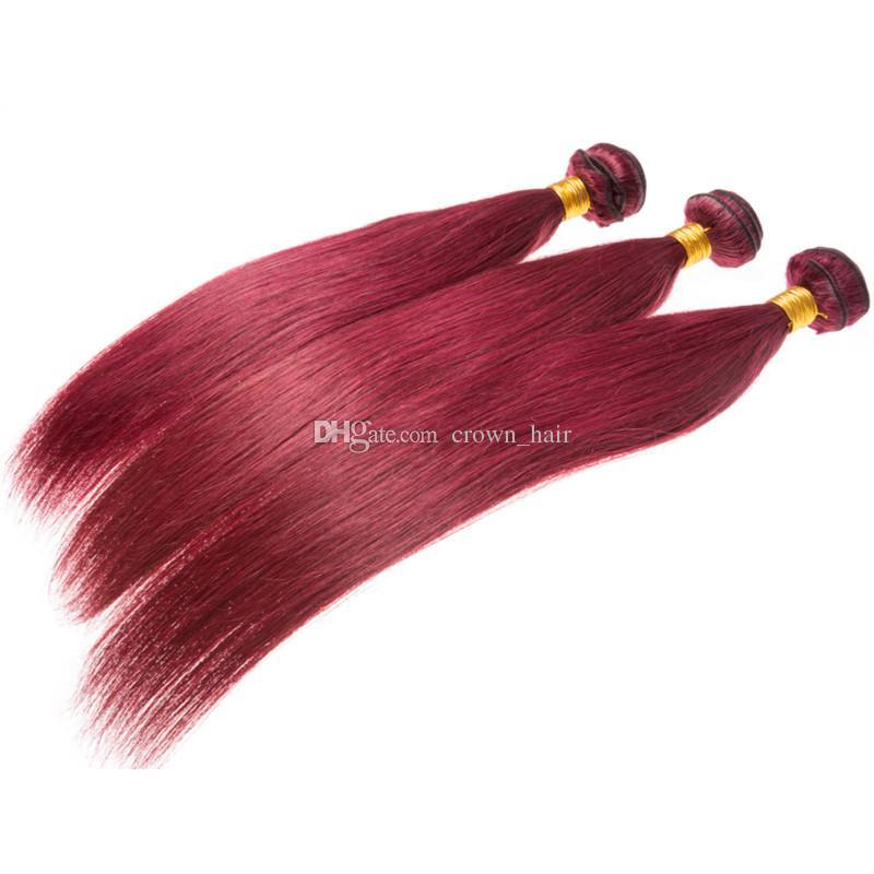 Düz Bakire Saç Atkı Ile Frontal Bordo Kulak Frontal Brezilyalı İpeksi Düz Renkli 99J Saç 3 Demetleri Ile Frontal Kapatma Uzatma