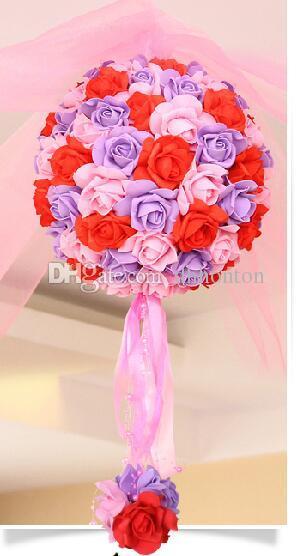 11 بوصة الزفاف الحرير بوماندر التقبيل كرات زهرة كرات تزيين الزهور الاصطناعي زهرة لحفل زفاف حديقة السوق الديكور