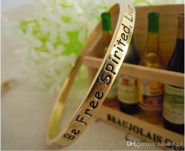 Cheap Metal Gold Lettering Love Gifts Bangle For Women And Men 6.1 cm Width Fashion Charm Lady Bracelets Make a Wish