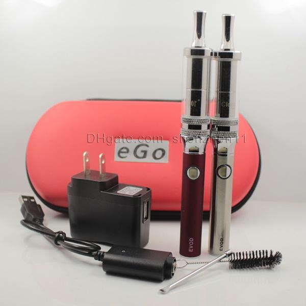EVOD Cloutank M4 Vaporizador Kit Duplo Presas De Vidro Cloutank M4 Para Wax Dry Herb Atomizador Capacidade 650/900/1100 mAh EVOD Bateria CAido